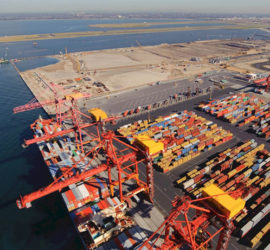 A shipping yard with containers and cranes