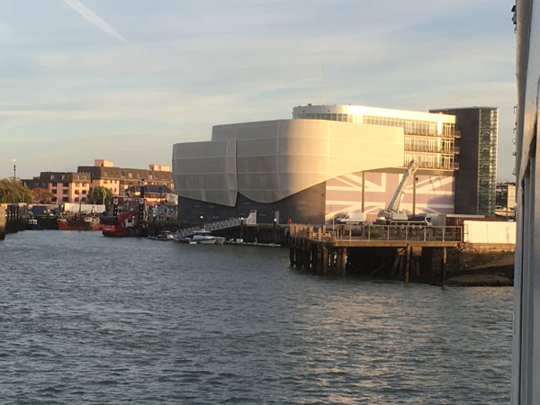 Ben Ainslie Headquarters Portsmouth exterior at sunset
