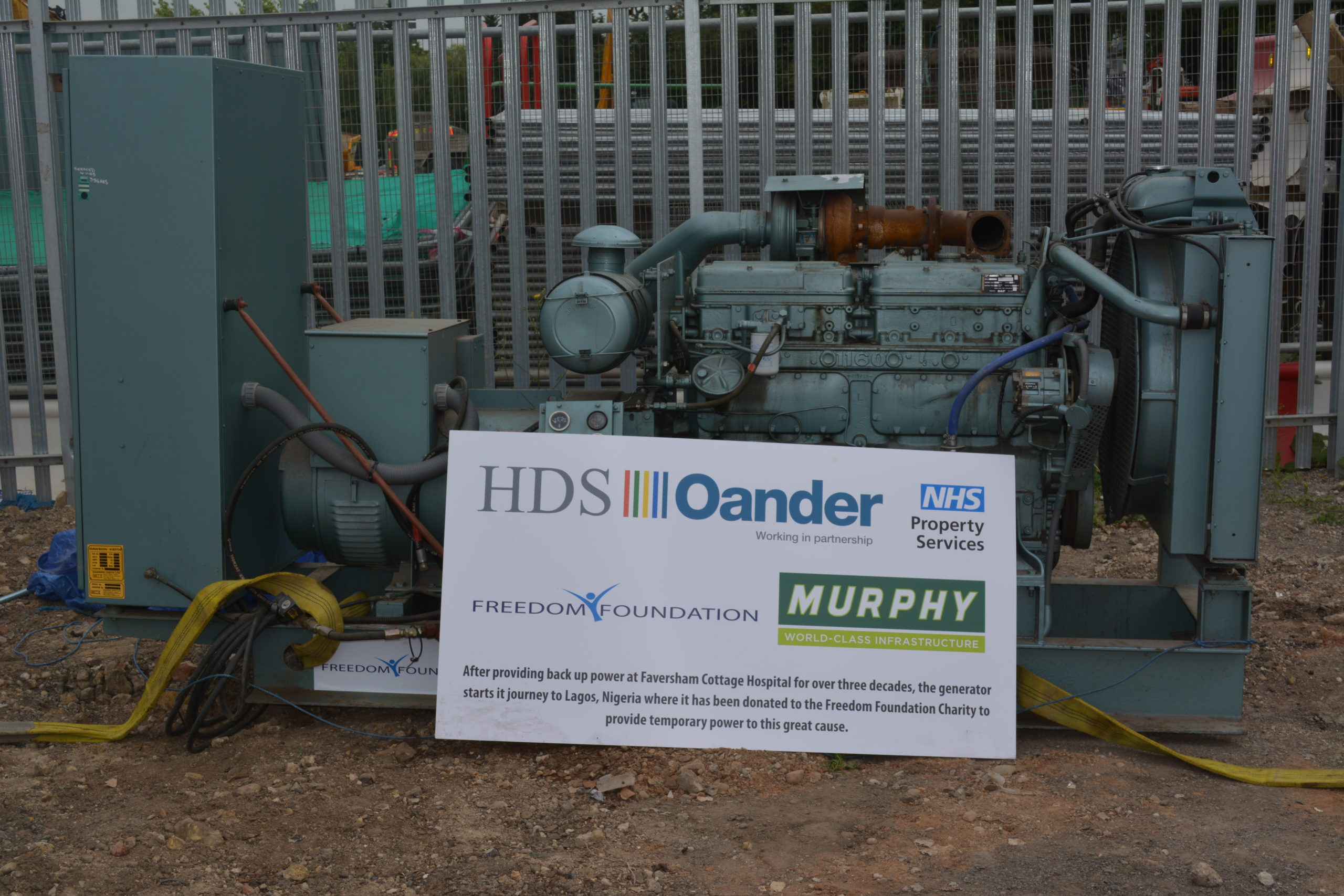 Backup generator donated to the Freedom Foundation in Nigeria