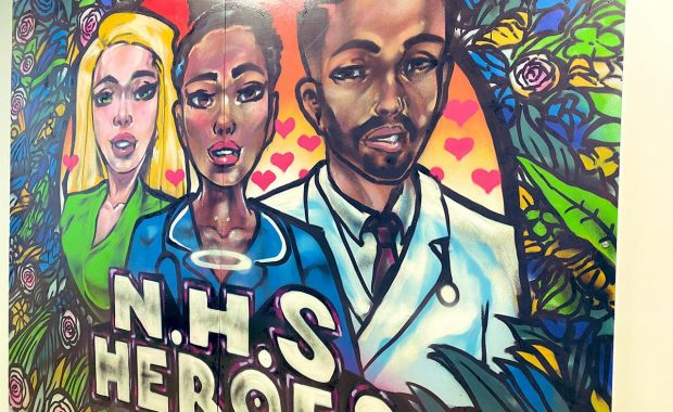 One of the completed NHS Heroes artworks by the Graffiti Kings